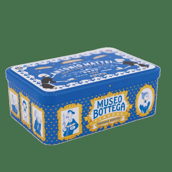 Blue tin box almond